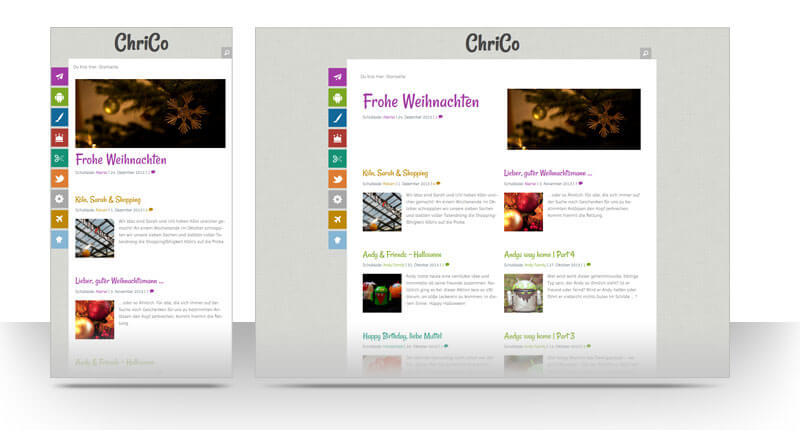 Links: Mobileansicht ChriCo WordPress-Theme 2014 , rechts Desktopansicht