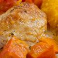 Überbackene Hähnchenteile mit Kürbis-Kartoffel-Püree