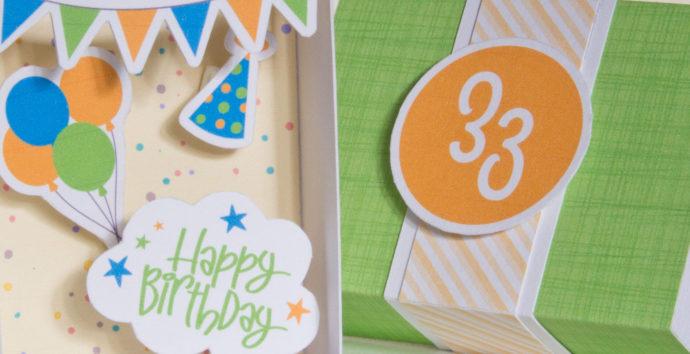 Bastelanleitung Geburtstagsschachtel